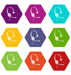 headphones with microphone icons set 9 vector image