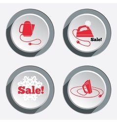 Home electric kettle Sale icon with snowflake vector