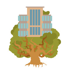 house on tree office buildings on oak alligory vector image
