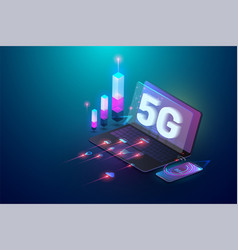 Isometric 3d 5g new wireless internet wifi vector