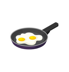isometric icon of pan with fried eggs vector image