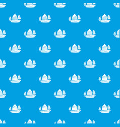Junk boat pattern seamless blue vector