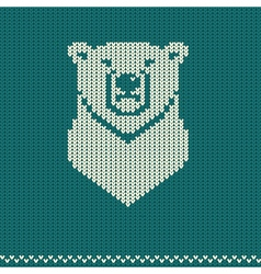Knitted pattern with polar bear vector image