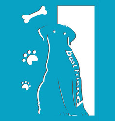 Laser die cutting card template with a dog best f vector
