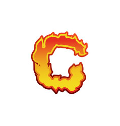 letter c fire flames font lettering tattoo vector image