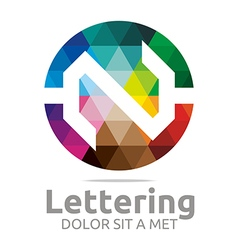 Lettering n rainbow alphabet design vector