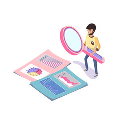 Man with magnifer charts and calendar vector