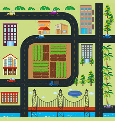 Map of town with roads and buildings vector