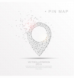 map pin shape digitally drawn low poly wire frame vector image