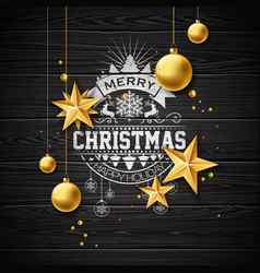 Merry christmas on vintage vector