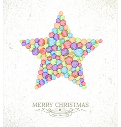 Merry Christmas watercolor star vector