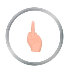 Middle finger icon in cartoon style isolated on vector image