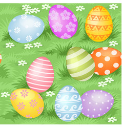 multi-colored easter eggs hidden in green grass vector image