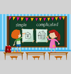 Opposite word with kids drawing simple and vector