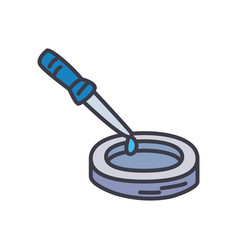 Petri dish and dropper icon flat style vector