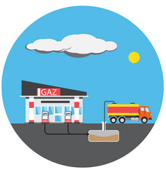 Petrol station colorful picture vector