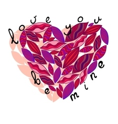 Pink heart from leaves Love you be mine vector image