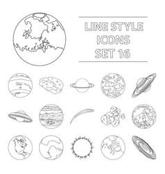 Planets set icons in outline style big collection vector