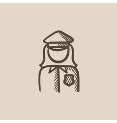 Policewoman sketch icon vector image vector image