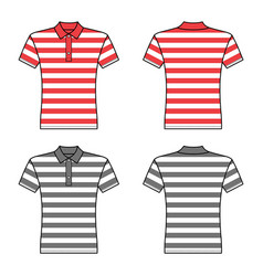 Polo striped t shirt man template front back vector