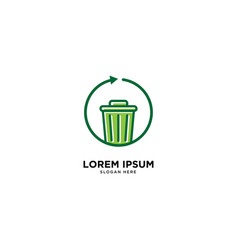 Recycle trash cloud simple line logo template vector