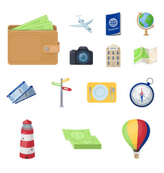 rest and travel cartoon icons in set collection vector image