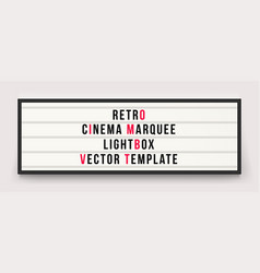 Retro cinema marquee lightbox template vector