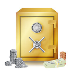 Safe and money stacks metal coins vector