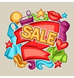 Sale banner with female clothing and accessories vector image