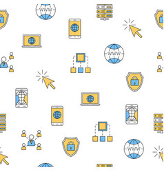 Seamless pattern - computer thin line icons vector