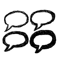 set hand drawn think and talk speech bubbles vector image