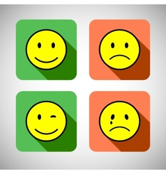Set of basic emotions in flat icon design vector