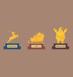 Set of gold christmas trophy vector