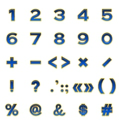 Set of numbers and signs buttons vector