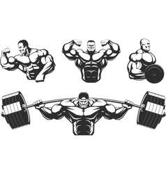 Silhouettes athletes bodybuilding vector
