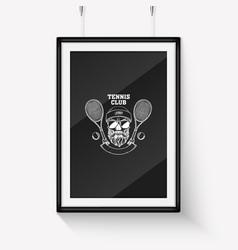 Sketch skull with tennis racquet vector