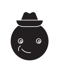 smiling emoji with hat emoji black concept vector image