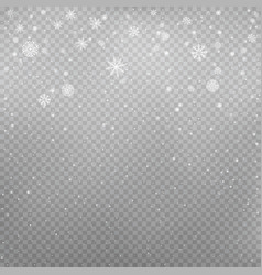 Snowfall on gray transparent background vector