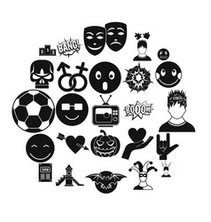 soulful icons set simple style vector image