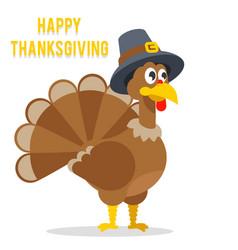 Thanksgiving turkey in pilgrim hat flat design vector