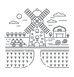 thin outline line design of farm logo template vector image