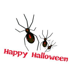 Three Evil Spiders with Word Happy Halloween vector image