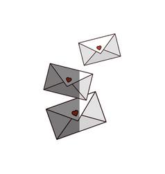 three romantics letters icon vector image