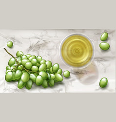 top view glass with white wine and grapes banner vector image
