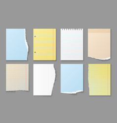 Torn notebook paper ripped edges note sheets vector