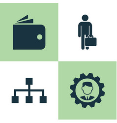 trade icons set collection of hierarchy work man vector image