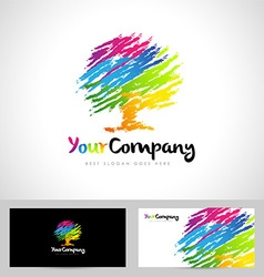 Tree logo artistic brush vector