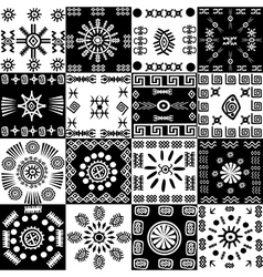 Tribal background set of ethnic elements vector image