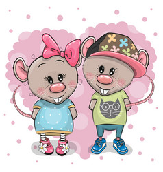 Two cartoon rats on a heart background vector