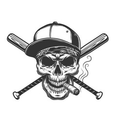 vintage monochrome skull in baseball cap vector image